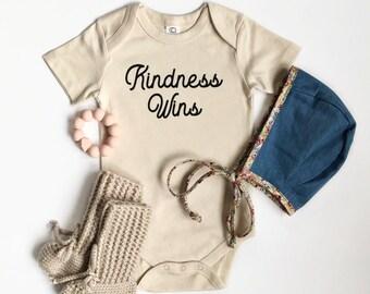 Kindness Wins Baby Bodysuit - Organic Bodysuit, Organic Children's Clothing