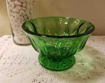 Green glass pedestal bowls