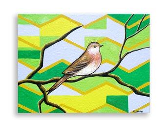 Sparrow Bird Art Original Acrylic Painting on Canvas, Abstract Art Animal Art Chevron Zig Zag Gray Llime Green 9x12