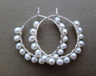 White and silver earrings, white pearl hoop earrings white pearl hoops, pearl wire wrapped hoops, pearl wire wrapped silver hoops,  handmade
