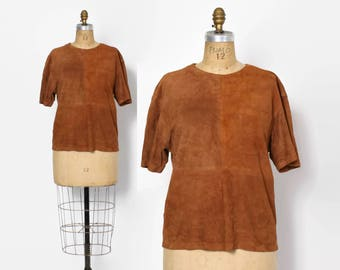Vintage 80s Leather T-Shirt Top / 1980s Michael Kors Genuine Soft Suede Loose Fit Shirt
