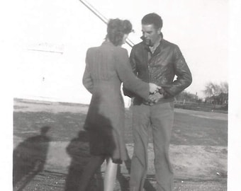 "Vintage Snapshot ""Serious Discussion"" Handsome Man Leather Jacket Found Vernacular Photo"