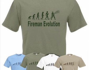 Evolution To Fireman t-shirt Funny Fire Fighter T-shirt sizes Sm TO 2XXL