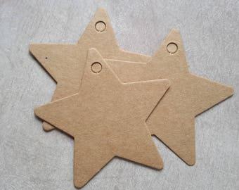 6 cm labels stars paper cardboard kraft label vintage wedding christening gift tags, name, mark up, gift tag