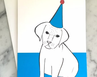 Party Dog greeting and birthday card, a blue and white illustrated art design