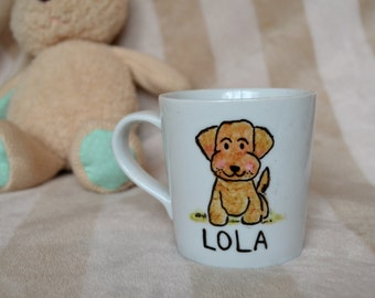 Younger Kids Personalised Name Mug - Children's Name Mug -  Puppy Mug - Hand painted Mug