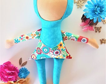 Faatimah - Handmade Fabric Doll Wearing Hijab
