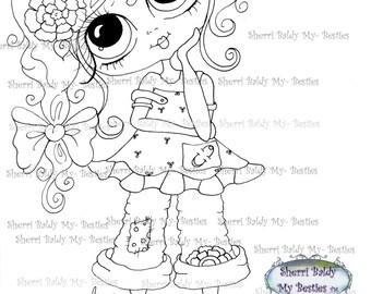 INSTANT DOWNLOAD Digital Digi Stamps Big Eye Big Head Dolls Digi  My - Besties  IMG237  By Sherri Baldy
