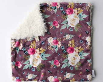 Mulberry Vintage Floral, Minky and Cream Faux Llama Lovey