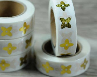 Masking tape, gold and white: foil decorative tape, pretty washi tape gold and white