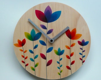 Objectify Rainbow Blooms Wall Clock - Medium Size
