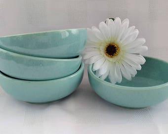 McCoy Turquoise Speckled Cereal Bowls, Set of Four (4)