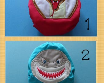 SassyCloth one size pocket diaper with shark, cobra embroidery on PUL. Ready to ship.