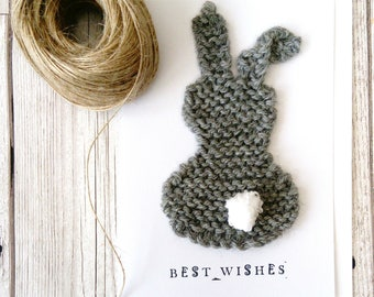 Bunny card, knitted bunny card, unique card, new baby card,  eco friendly gift, cute rabbit card