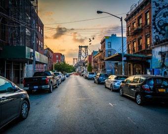 Sixth Street and the Williamsburg Bridge at sunset, in Williamsburg, Brooklyn, New York. Photo Print, Metal, Canvas, Framed.