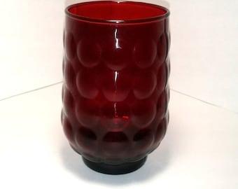 Red Glass Brush Holder