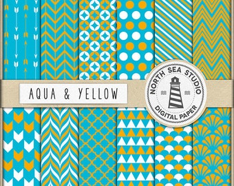 Aqua Blue And Yellow Digital Paper Pack   Scrapbook Paper   Printable Backgrounds   12 JPG, 300dpi Files   BUY5FOR8