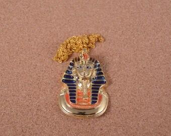 Amazing Egyptian Golden Enameled Famous Tutankhamun Mask Necklace
