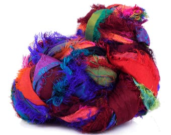 Sari Silk furzzy Ribbon, Mix Miulticolour Sari Silk Ribbon