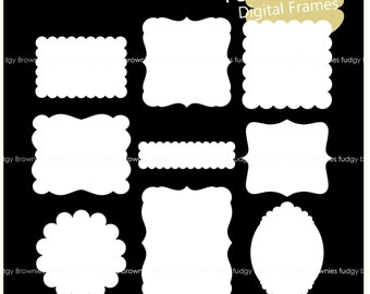ON SALE, scallop frame clipart, white scallop frame, frames clipart, square frames, A-234, label, tag, instant download