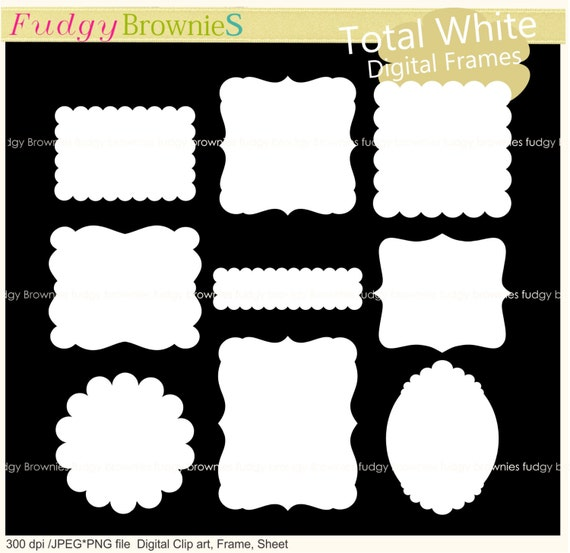 ON SALE Scallop Frame Clipart White Frames