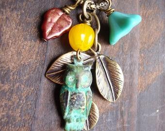 Hooter. Patina Owl Woodland Charm Necklace. Owl Necklace.