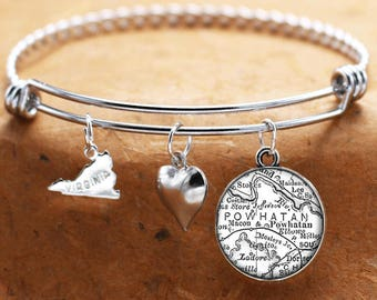 Map Charm Bracelet Powhatan Virginia Antique Map State VA Bangle Cuff Bracelet Vintage Map Jewelry Stainless Steel Bracelet