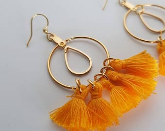 Millie Tassel Earrings in Mustard