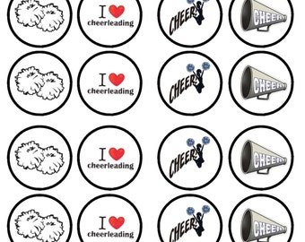 Cheerleading Edible Wafer Rice Paper Cake Cupcake Toppers x 24 PRECUT
