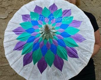 Parasol Purple Teal Royal Lotus Flower Parasol