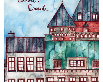 QUEBEC CANADA Print 8x12 Ink and Watercolor Painting