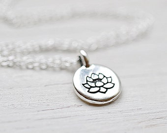 Silver Lotus Necklace, Lotus Flower Meditation Charm, Buddhism Yoga Spiritual Jewelry Sterling Silver Chain Lotus and Bliss