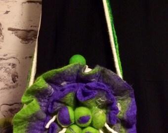 Felted Bag merino wool flower
