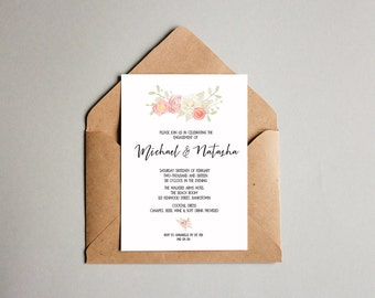 Floral + Leaves Black and White Engagement OR Wedding Invitation