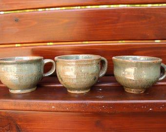 Set of 3 Green Earthy Mugs