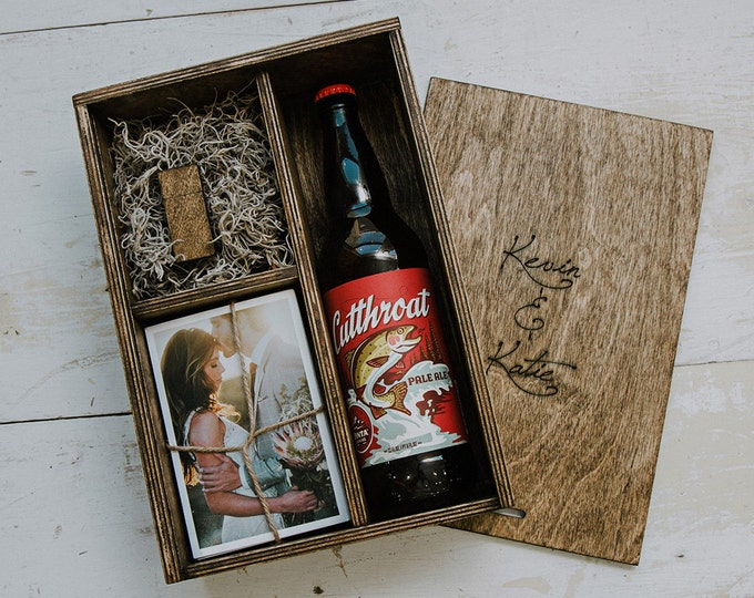 Beer/Print Box with enough space for 4x6 prints and USB drive and 22oz beer