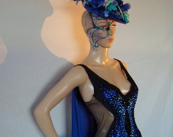 Blue Morpho- Rhinestone Bodysuit w/ Removable Cape