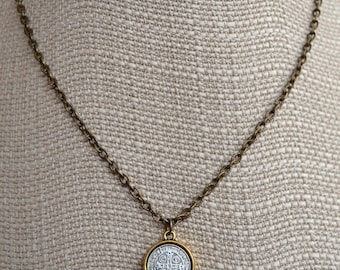 Mixed Metal San Benito Necklace | Religious Necklace | Layering Necklace