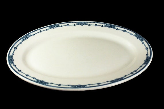 Platter, Jackson China, Oval, Blue Scroll, 13 Inch, Restaurant Grade, Blue and White