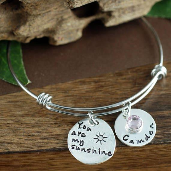 You are My Sunshine Bangle Bracelet, Gift for Mom, Mothers Bracelet, Personalized Bangle Bracelet, Silver Charm Bracelet, Sunshine Jewelry