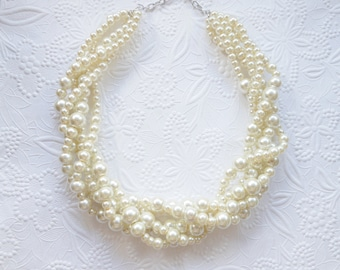 Ivory Pearl Necklace, Pearl Statement Necklace, Wedding Necklace, Bridal Necklace, Bridesmaid Necklace