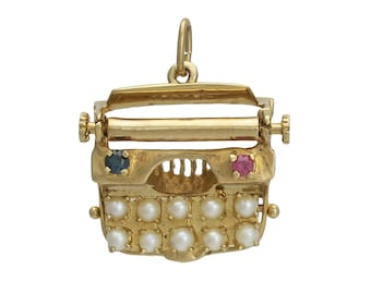 Vintage 14K Gold Cultured Pearl Ruby and Sapphire Typewriter Charm