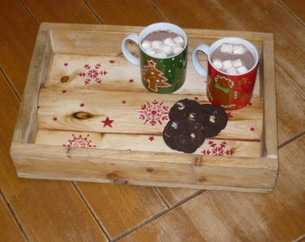 Recycled Christmas wooden tray