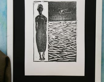 Woodcut,Woodblock,Print,Wall art,homedecoration art,black&white,limited edition,sea,woman,collecting piece,original,handmade paper,art print