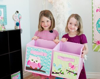 Set of 2 Sweet Little Owl and Birdie Fabric Bins Girl's Bedroom Baby Nursery Organizer for Toys or Clothing 2FB004