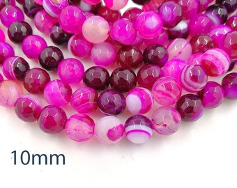 1 Full Strand 10mm Hot Pink Banded Agate Faceted Round Gemstone Beads Semi Precious Beads