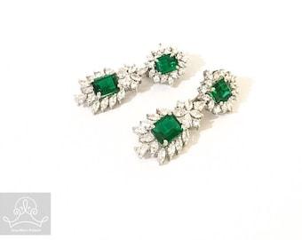 Green emerald cut dangle/ drop earrings sterling silver