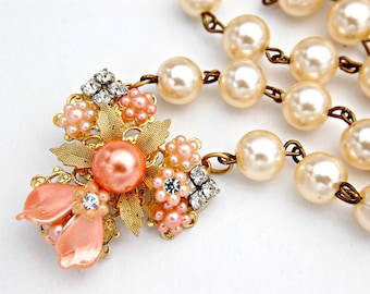Assemblage Jewelry - Pearl Assemblage Necklace - Pearl Pendant Necklace - Peach Pearl Necklace - Upcycled Repurposed Jewelry