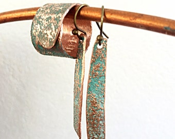 Copper Jewelry - Copper Earrings and Ring - Jewelry Set - Gift for Girlfriend - Birthday Gift for Girlfriend - Wrap Ring - Turquoise Copper
