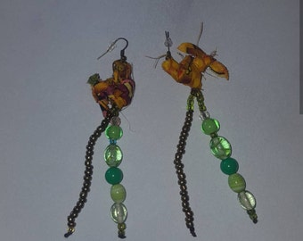 Beautiful African material and beaded earrings